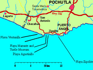 Road map about the Zipolite, Puerto Angel and Pochutla region